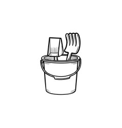 Sandbox toys hand drawn outline doodle icon vector