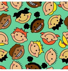 seamless background with faces children vector image