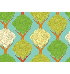 seamless pattern with beautiful trees vector image