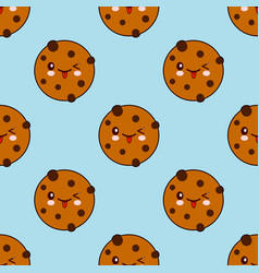 seamless pattern with chocolate cookie isolated on vector image