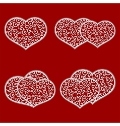 Set hearts pattern retro vector