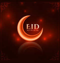 Shiny red eid festival beautiful greeting vector
