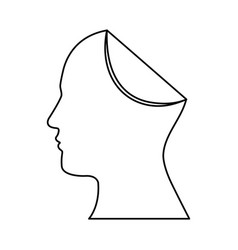 sketch silhouette head human with fold icon vector image