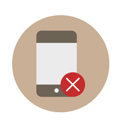 smartphone use prohibition sign block and flat vector image