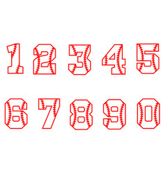 Sport style font baseball numbers on white vector