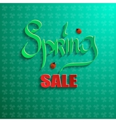 Spring sale on a green background vector image