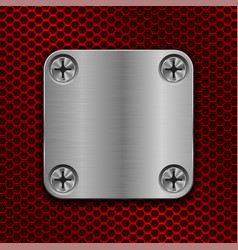 Square metal plate on red perforated background vector