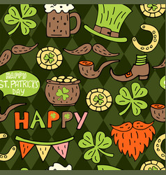 St patricks day hand drawn doodle seamless pattern vector
