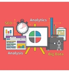 Stand with charts and parameters big data seo vector