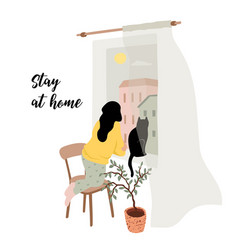 Stay at home young woman looks out window vector