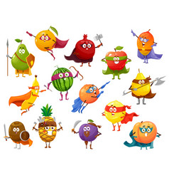 Superhero fruit cartoon characters set super food vector