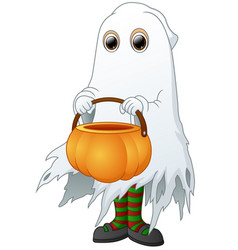 The ghost carrying basket pumpkin isolated white b vector
