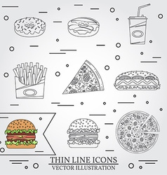 Thin line icon donuts pizza fries soda hot dog and vector