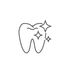 Tooth clean line icon vector