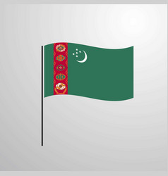 Turkmenistan waving flag vector