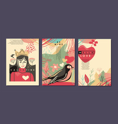 valentines day greeting cards and banners vector image