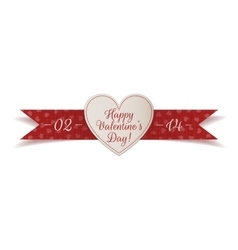 Valentines Day Heart Label with red Ribbon vector