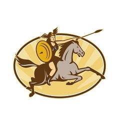 Valkyrie Amazon Warrior Horse Rider vector