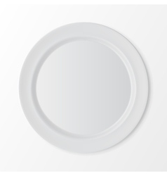 White Flat Round Plate Isolated on Background vector image