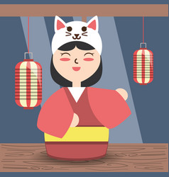 Woman with kimono and custome cat hat design vector