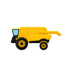 Yellow combine harvester agricultural machinery vector