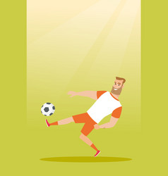 Young caucasian soccer player kicking a ball vector