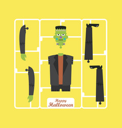 Corpse of green zombie halloween character vector