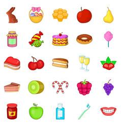 dessert icons set cartoon style vector image vector image