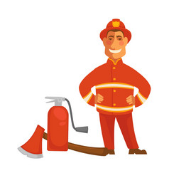 fireman or firefighter uniform with fire vector image vector image
