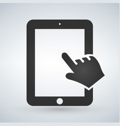 hand and touchscreen on modern digital device vector image vector image