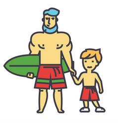 happy father with son on vacation with surfing vector image vector image