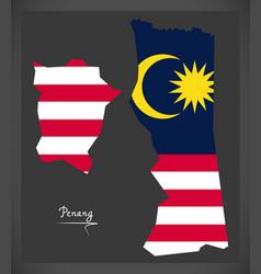 penang malaysia map with malaysian national flag vector image vector image