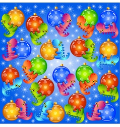 christmas background with balls and dragons vector image vector image