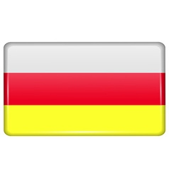 Flags North Ossetia in the form of a magnet on vector image
