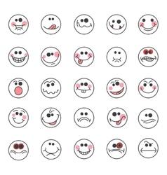 Hand drawn doodle emoticons vector image