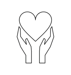 hands holds heart love care outline vector image