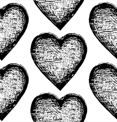 Seamless sketchy pattern heart vector image vector image