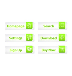 Web Buttons with Green Bookmarks and Six Icons vector image