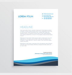 business letterhead design with blue wave vector image vector image