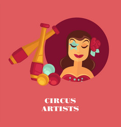 circus artists promo posterwith female juggler and vector image