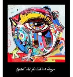Original contemporary digital painting bird vector