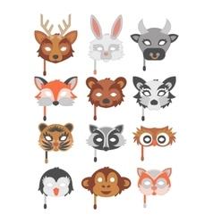 Set of cartoon animals party masks vector image