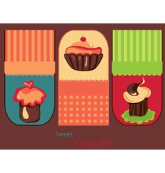 set of cute cupcakes vector image vector image
