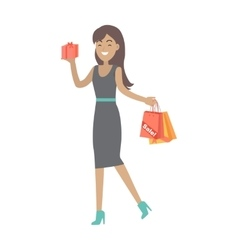 Woman buys presents at discount price vector