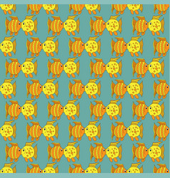 yellow funny fish seamless pattern vector image vector image