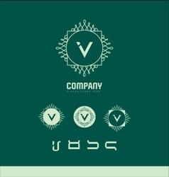 Foral monogram letter v logo set vector image