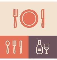 Knife plate fork vector image vector image