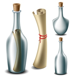 Message in the bottle set vector image vector image