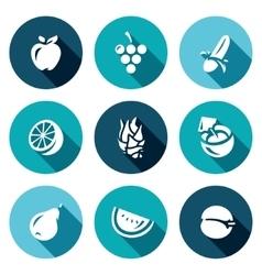 Set of Fruits Icons Apple Grape Banana vector image vector image