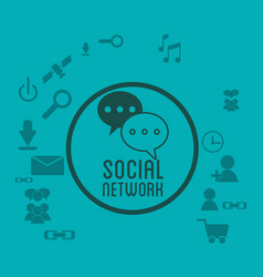 social network media icons badge green background vector image